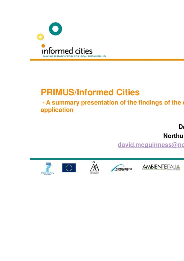 Informed Cities Forum 2011 Project Findings David McGuinness