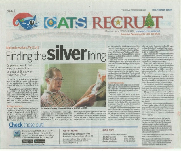 Finding the Silver Lining in The Straits Times 12 Dec 2013