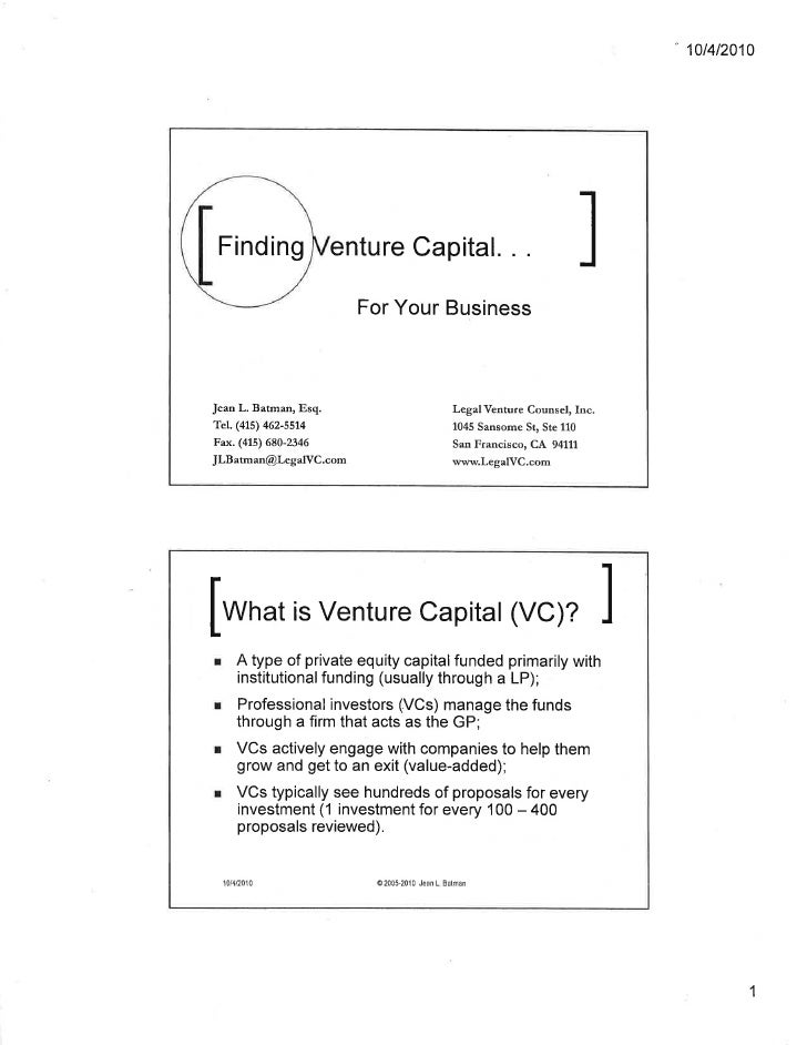 Finding vc for biz