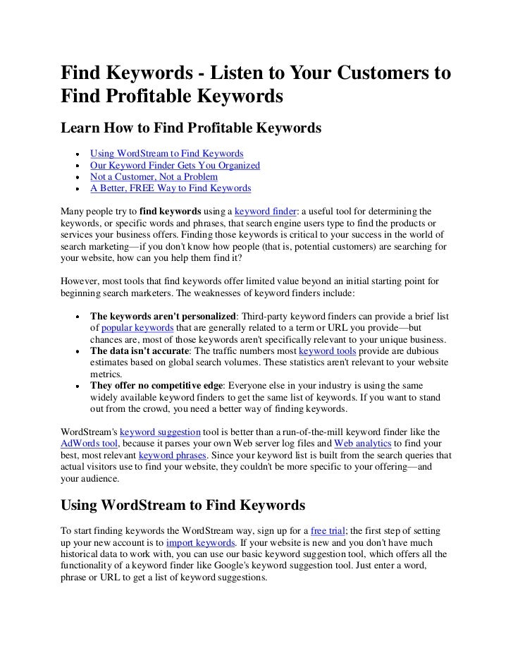 Find Keywords - Listen to Your Customers toFind Profitable KeywordsLearn How to Find Profitable Keywords       Using WordS...