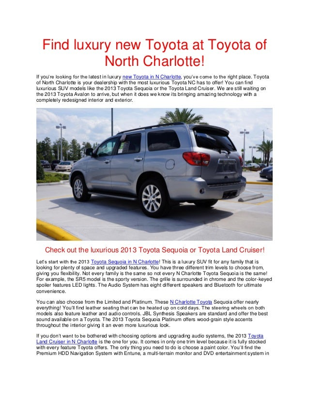 Find luxury new Toyota at Toyota of North Charlotte!