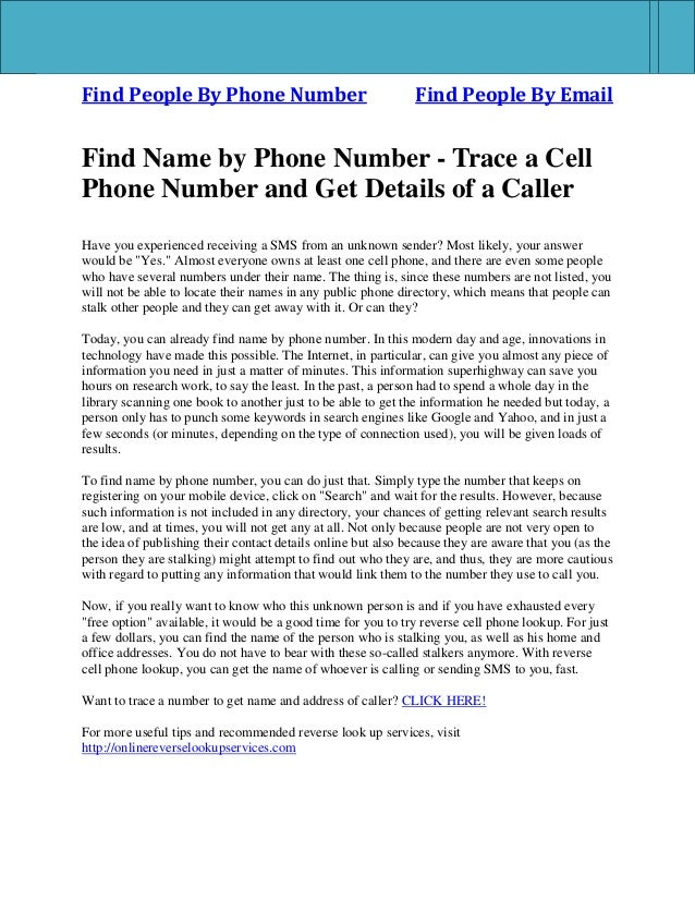 How to trace a phone number to the caller