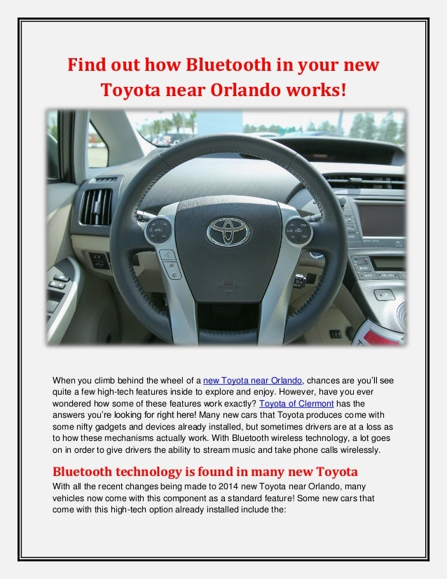 Find out how Bluetooth in your new Toyota near Orlando works