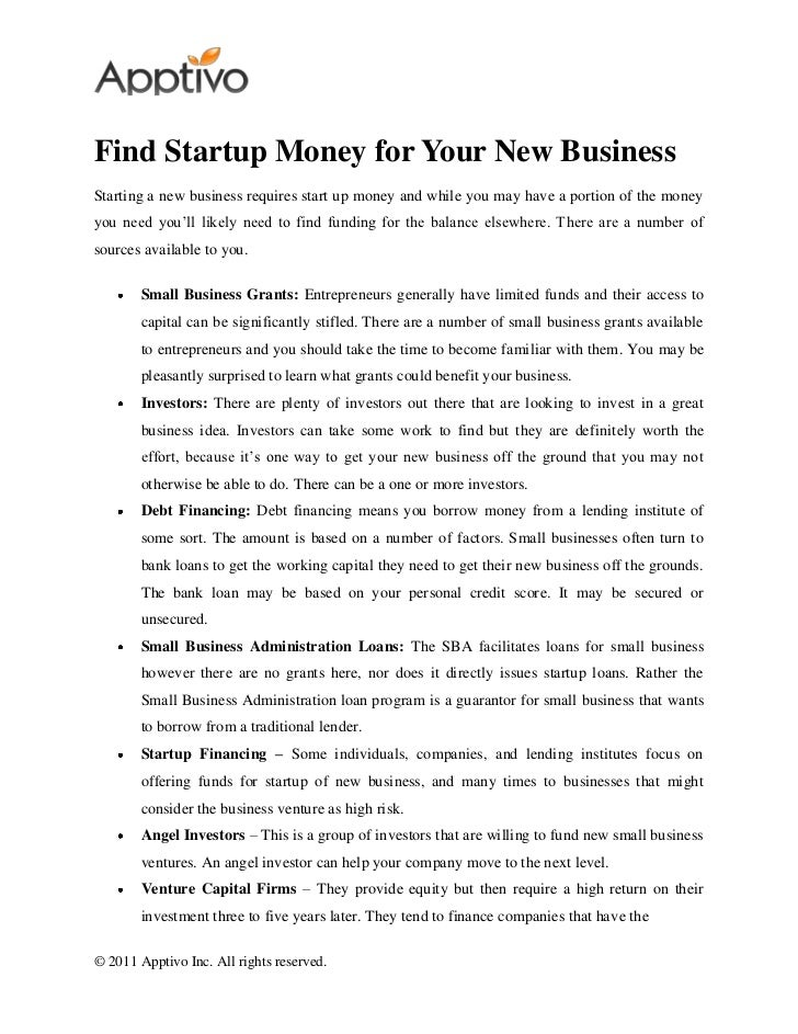 Find Startup Money for Your New BusinessStarting a new business requires start up money and while you may have a portion o...