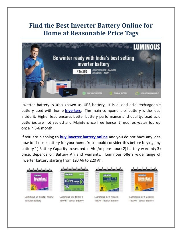 Find the best inverter battery online for home at for Find a home online