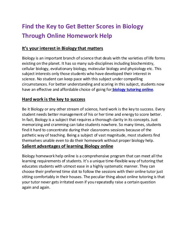 High school science homework help