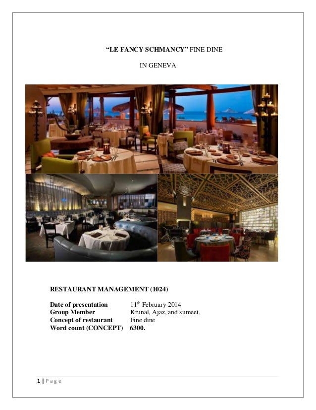 Fine dine concept in Geneva , how to open Restaurant