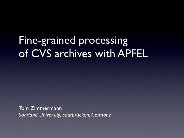 Fine-grained Processing of CVS Archives with APFEL