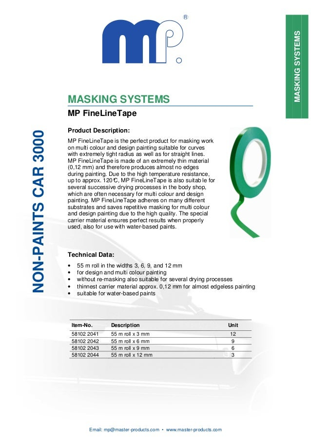 MASKING SYSTEMS                      MASKING SYSTEMS                      MP FineLineTape                      Product Des...