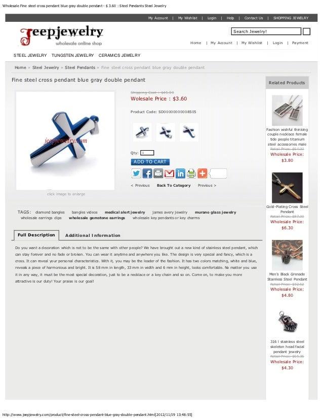 Fine steel cross pendant blue gray double pendant