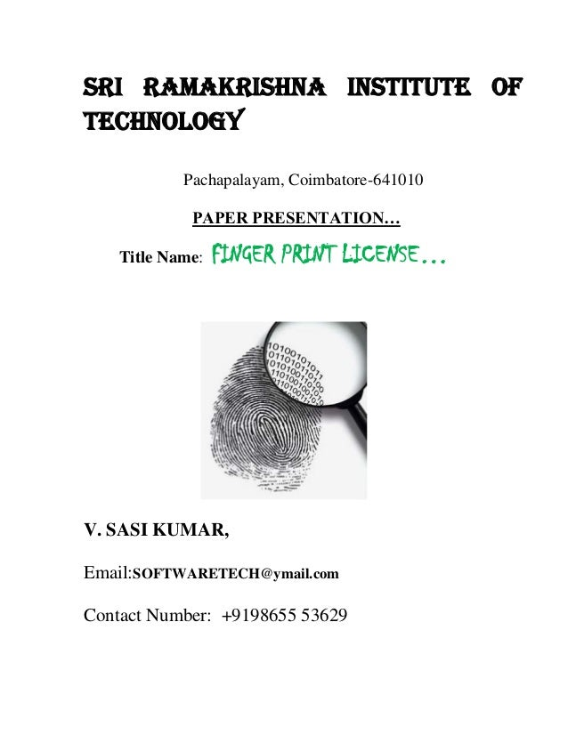 SRI RAMAKRISHNA INSTITUTE OFTECHNOLOGY            Pachapalayam, Coimbatore-641010             PAPER PRESENTATION…    Title...