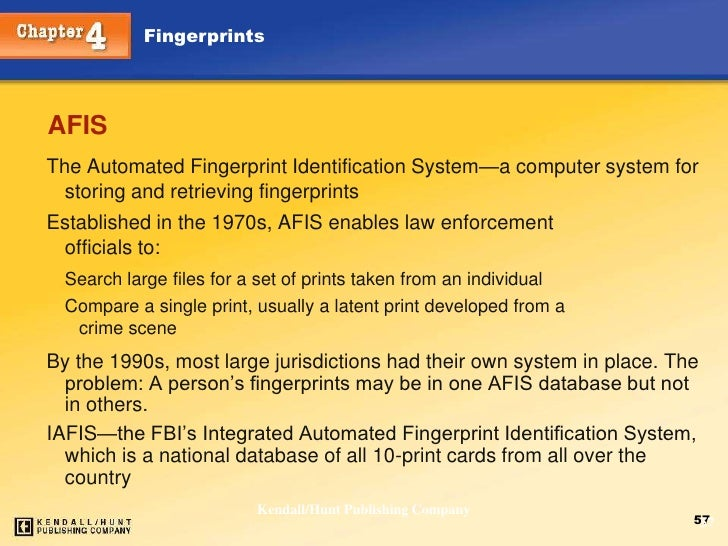 an introduction to the automatic fingerprint identification system afis Find great deals on ebay for afis automated fingerprint identification system shop with confidence.