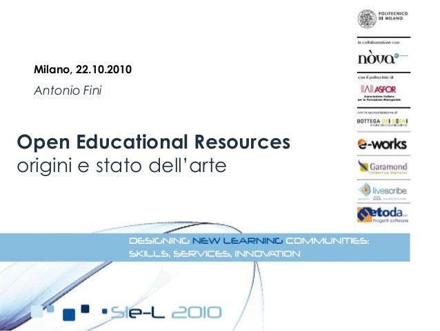 Open Educational Resources: origini e stato dell'arte
