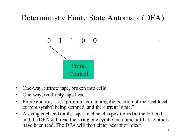Deterministic Finite State Automata (DFA) 0  1  1  0  0  ……..  Finite Control • • • •  One-way, infinite tape, broken into...