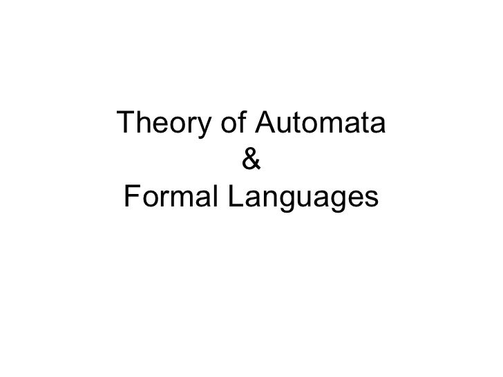Theory of Automata        &Formal Languages