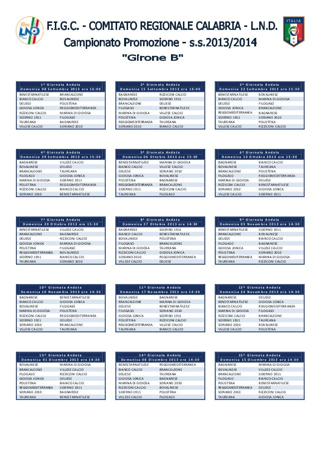 Calcio Calabria dilettanti, il calendario del campionato promozione-b-2013-2014