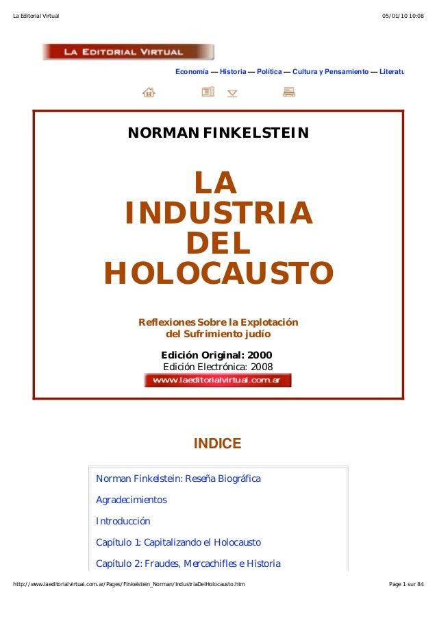 La Industria del Holocausto.  NORMAN FINKELSTEIN