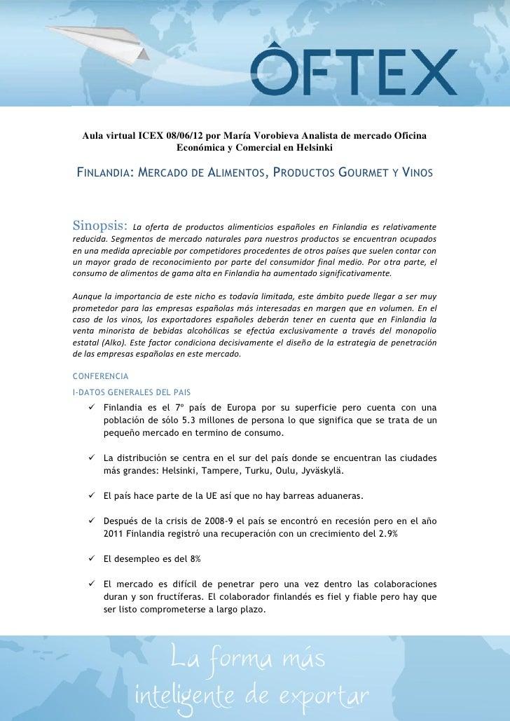 Aula virtual ICEX 08/06/12 por María Vorobieva Analista de mercado Oficina                      Económica y Comercial en H...