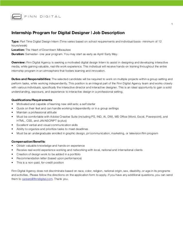 1 Internship Program for Digital Designer | Job DescriptionType: Part Time Digital Design Intern (Time varies based on s...