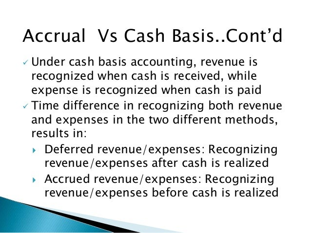 cash basis accounting vs accrual basis accounting essay There are two methods of accounting a business may use to record their transactions cash basis accounting and accrual basis accounting while both are effective, most businesses choose accrual basis accounting because cash basis accounting is not an acceptable form of accounting under generally accepted accounting.