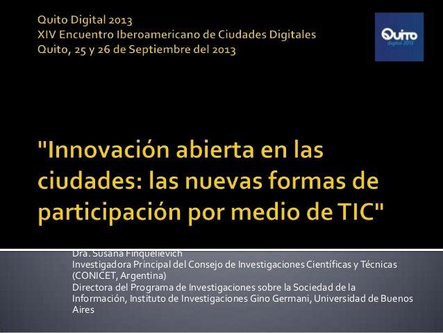 Innovacion Abierta en las ciudades. Nuevas formas de participación por medio de TIC