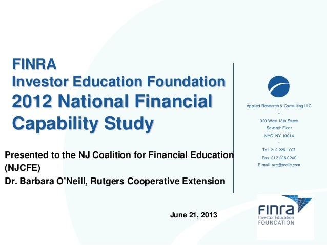 FINRA NFCS 2012 Overview-06-13-NJCFE-With NJ Data