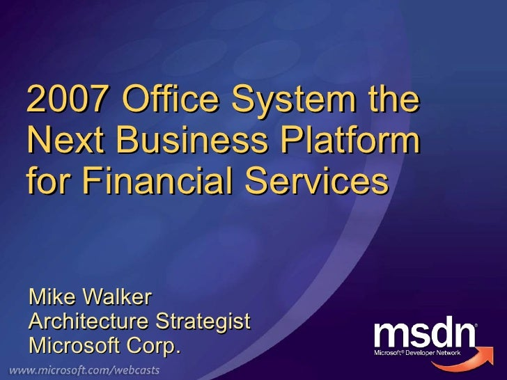 Office Business Applications in Financial Services