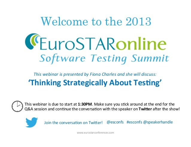 """""""Thinking Strategically About Testing"""" with Fiona Charles"""