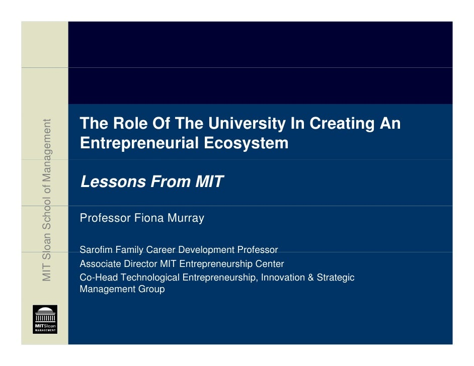 The Role Of The University In Creating An                      agement                                    Entrepreneurial ...