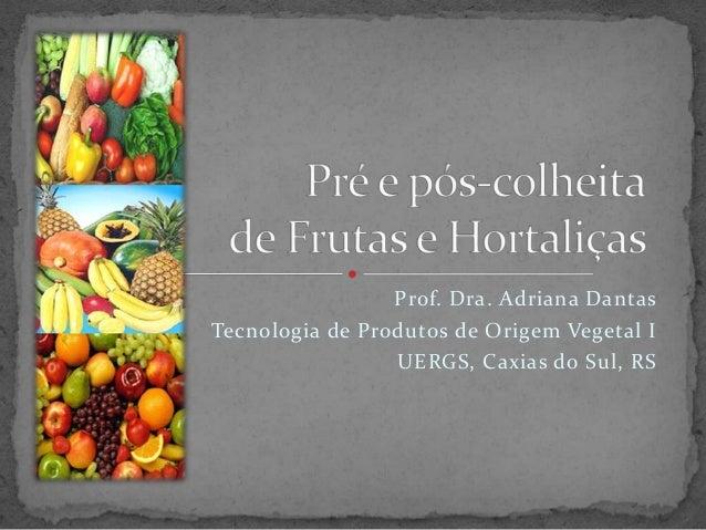 Prof. Dra. Adriana Dantas Tecnologia de Produtos de Origem Vegetal I UERGS, Caxias do Sul, RS
