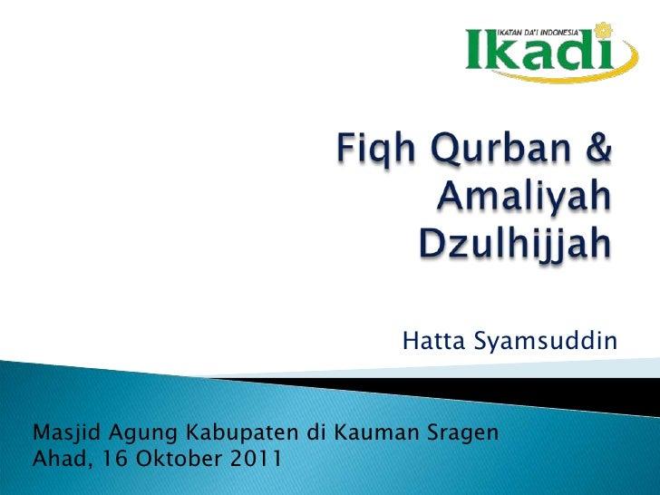 Fiqh  Qurban &  Amal  Dzulhijjah