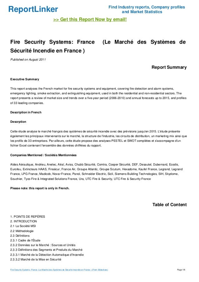 ReportLinker Find Industry reports, Company profiles and Market Statistics >> Get this Report Now by email! Fire Security ...