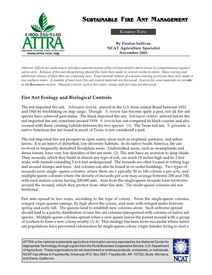 Sustainable Fire Ant Management
