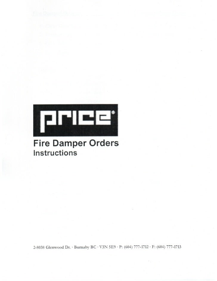 Firedamper Orders - Instructions