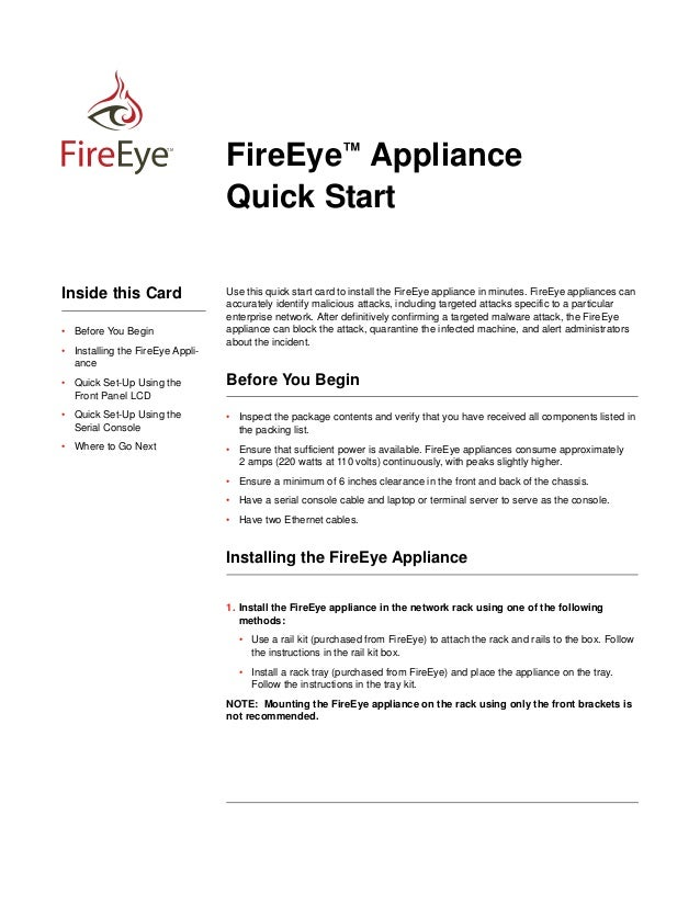 First/Final Draft for Review - FireEye Confidential - August 17, 2013  TM  Inside this Card • Before You Begin • Installin...