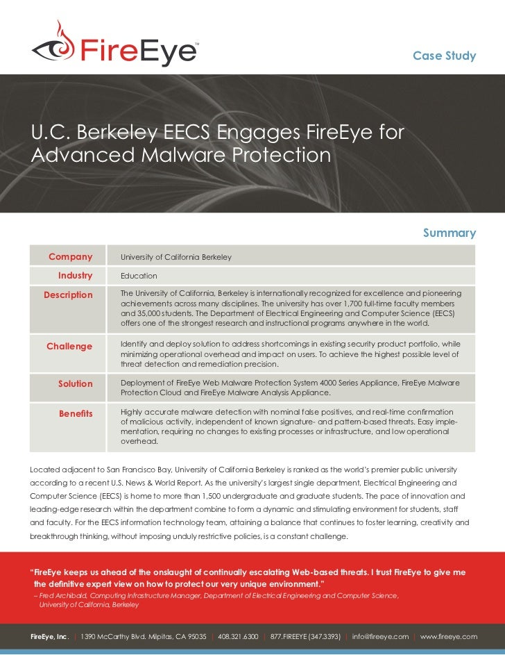 U.C. Berkeley Engages FireEye for Advanced Malware Protection