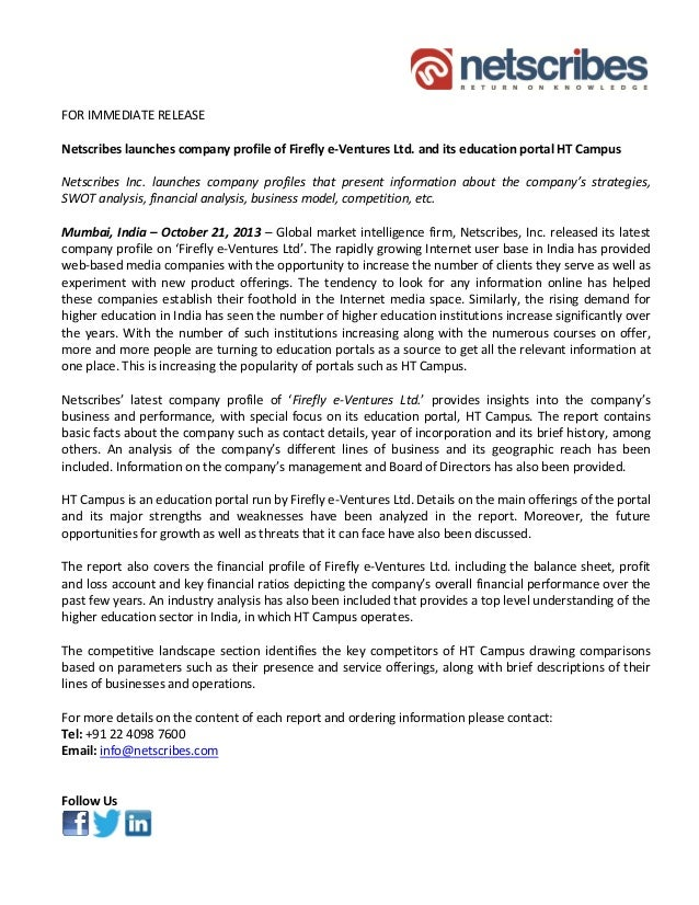 Firefly e ventures ltd. - press release