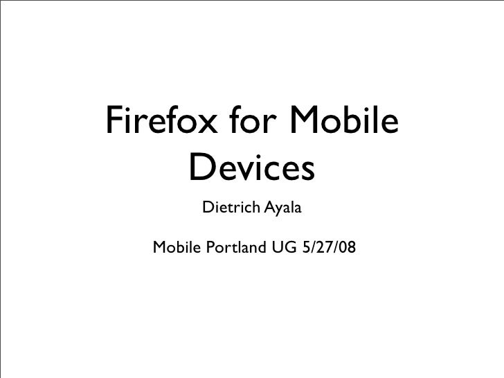 Firefox For Mobile Devices