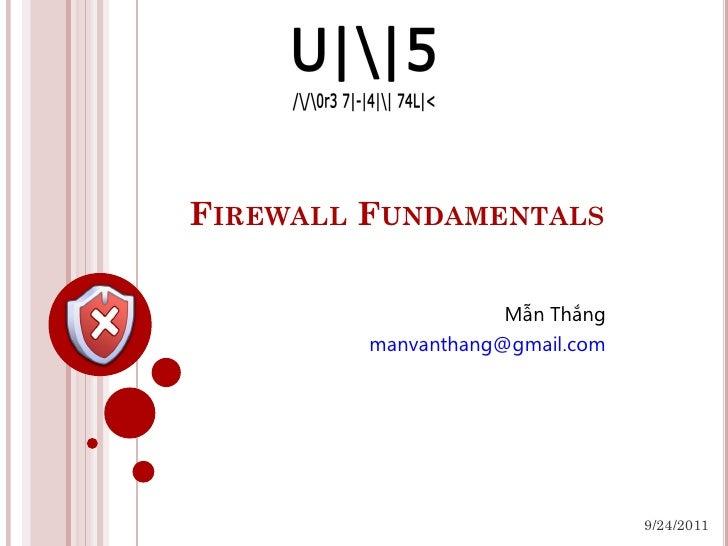 Firewall fundamentals