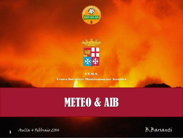 C.I.M.A. Centro Interforze Munizionamento Avanzato  METEO & AIB Aulla 4 Febbraio 2014  B.Barsanti