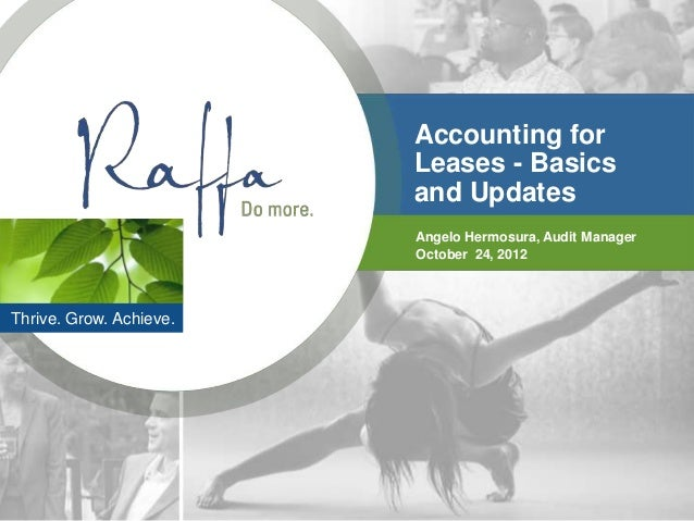 Accounting for                         Leases - Basics                         and Updates                         Angelo ...