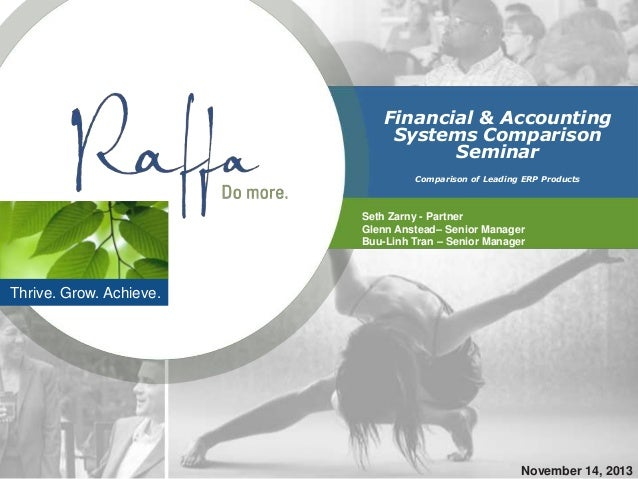 Financial & Accounting Systems Comparison Seminar Comparison of Leading ERP Products  Seth Zarny - Partner Glenn Anstead– ...