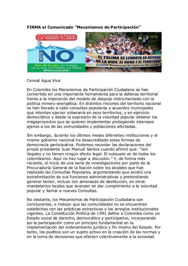 """FIRMA el Comunicado """"Mecanismos de Participación"""" Censat Agua Viva En Colombia los Mecanismos de Participación Ciudadana s..."""