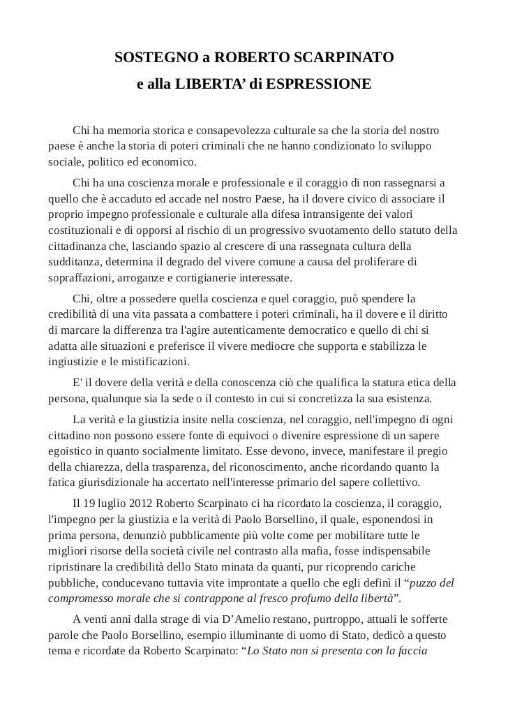 La lettera di sostegno a Scarpinato