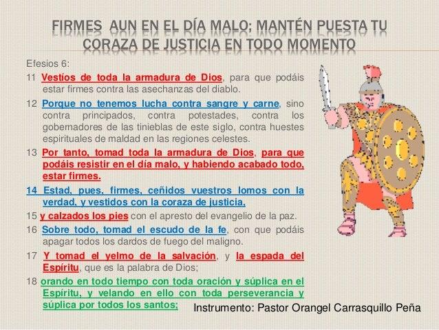 Firmes  Aun En El DíA Malo; MATEN PUESTA TU CORAZA DE JUSTICIA EN TODO MOMENTO