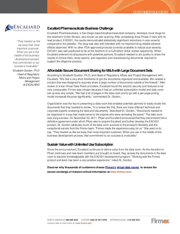 Firmex - Case Study - Excaliard Pharmaceuticals