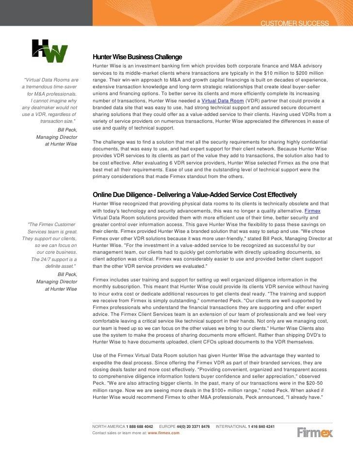 Firmex   case study - hunter wise