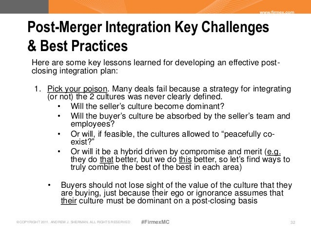 integration planning success of a takeover Here's how to maximize your chances for success our combined research shows that the most successful companies link effective strategic formulation, pre-merger planning and post-merger integration if an acquisition is called for.
