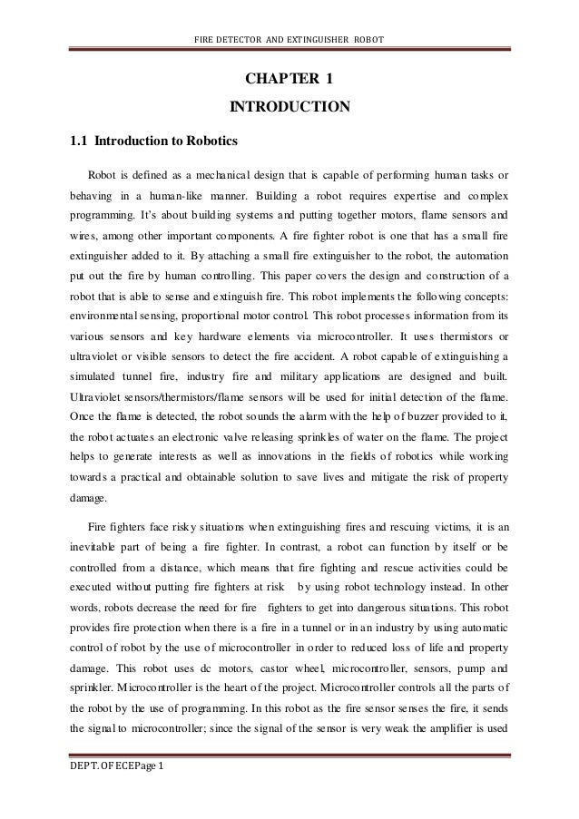 Fire Detector And Extinguisher Robot Project Report