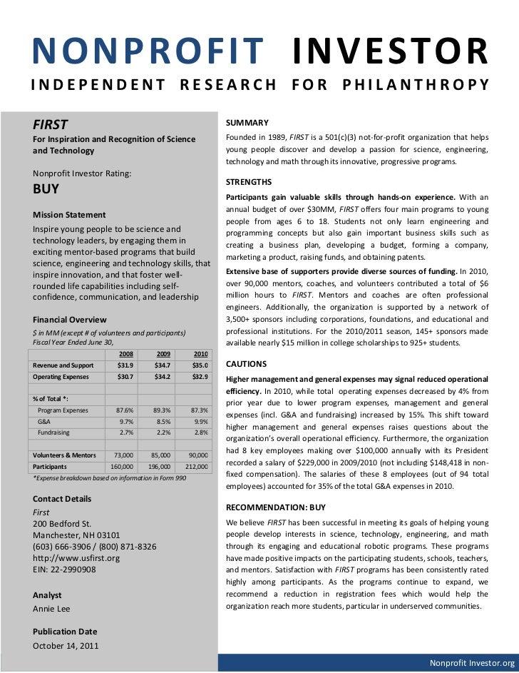 NONPROFIT INVESTORINDEPENDENT RESEARCH FOR PHILANTHROPYFIRST                                                          SUMM...